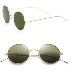 Illesteva Porto Cervo 57MM Round Sunglasses ($205) ❤ liked on Polyvore featuring accessories, eyewear, sunglasses, glasses, apparel & accessories, gold, uv protection sunglasses, lens glasses, over sized sunglasses and multi colored sunglasses