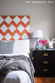 Coral Geometric Headboard (UO Knock-Off for under $100) | from [The Weathered Door]