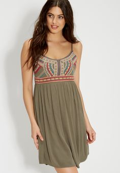 olive green dress with embroidery (original price, $44.00) available at #Maurices