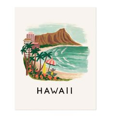 Hawaii illustrated art print