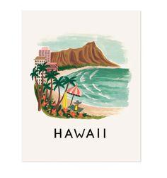 Hawaii illustrated art print