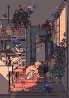 """""""Staying positive doesn't necessarily mean being happy all the time. It just means that even when you're feeling low, you know that it will end, and that there are better days on the other side."""" -happiersuggestion #NoteToSelf  artwork by annaxiin"""