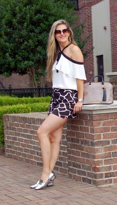 Spring and Summer Inspiration by TeodorasLookbook.com; frilled halter neck top and black/white print shorts