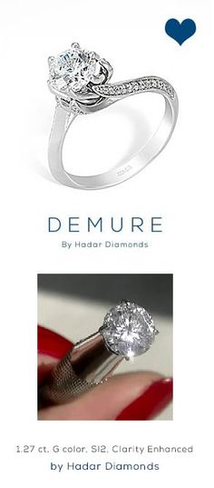 """Hint for my Honey...  1.27 carat Round Brilliant Diamond, G color, SI2 clarity.  Video available.  Paired with the assymetrical design, """"Demure"""" solitaire engagement ring with micro pave.  Looking forward to the engagement, by HadarDiamonds.com ."""