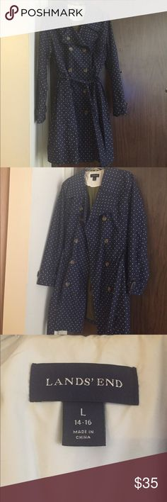 Lands End Polka Dot Trench Coat size 14/16 Classic trench coat in a navy blue/ white polka dot design. Worn only a few times, in great condition! land's end Jackets & Coats Trench Coats