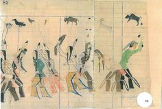 Warriors, Plains Indian ledger drawing