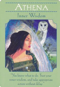 Athena in Goddess Guidance Oracle Cards by Doreen Virtue Doreen Virtue, Angel Guidance, Oracle Tarot, Angel Cards, Divine Feminine, Card Reading, Gods And Goddesses, Tarot Cards, Card Deck