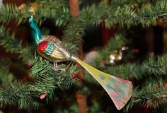 Antique Glass Christmas Ornament.. A peacock, Lauscha, Germany ca. 1920