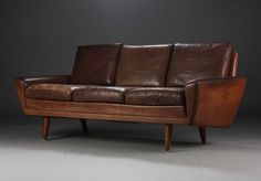 Three-seater, brown leather, Danish furniture producer from 1960.