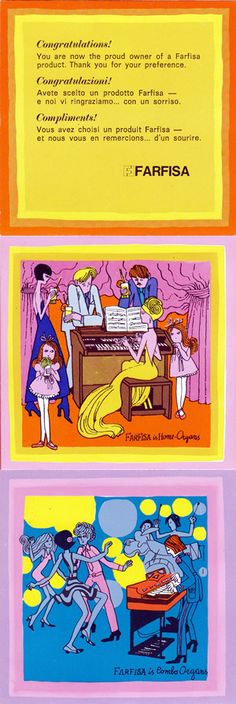 イタリアの楽器メーカーFarfisa(ファルフィッサ)の1960〜70年代のリーフレット。3つに分けて掲載してますが実際は1枚つづりです。裏面はそれぞれの...