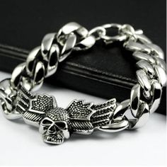 Skull and Wings Stainless Steel Bracelet Chain for Men