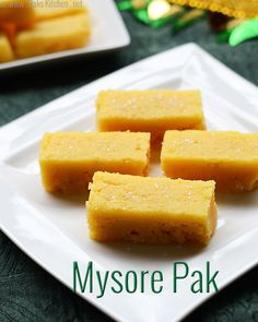 Indian Recipes Soft, melt in mouth mysore pak recipe, traditionally made for Diwali. Indian Desserts, Indian Sweets, Indian Snacks, Indian Dishes, Sweet Desserts, Indian Food Recipes, Vegetarian Recipes, Cooking Recipes, Ethnic Recipes