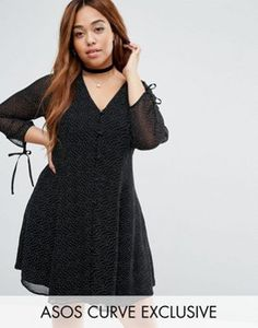 5d364f58223 ASOS CURVE Polka Dot Button Down Tea Dress With Tie Sleeve Plus Size Womens  Clothing