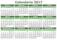 2017 vector calendar in Spanish. Easy for edit and apply. Calendario 2017