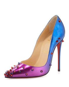 DegraSpike+Patent+Red+Sole+Pump,+Rose/Blue+by+Christian+Louboutin+at+Neiman+Marcus.