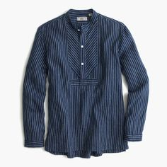 Wallace & Barnes Irish linen band-collar popover shirt : Wallace & Barnes | J.Crew