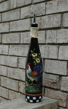 Olive Oil dispenser with Hand Painted Rooster by JCandmeArt, $25.00