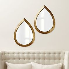 Set of 2 Kasbah Teardrop Brass Wall Mirrors