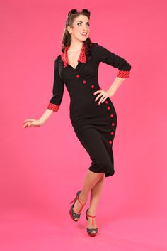 -Clarissa-Rose - 1950s stretch fitted wrapover dress  	$113.7