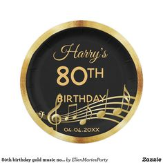 birthday gold music notes on chic black paper plate Birthday Party For Teens, 30th Birthday Parties, 80th Birthday, Party Tableware, Black Paper, Music Notes, Paper Plates, Biodegradable Products, Party Supplies
