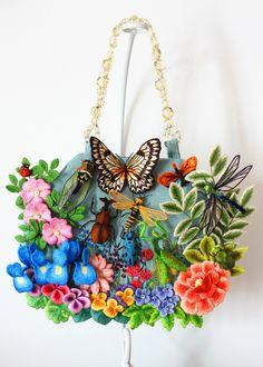 フェルト刺繍のバッグ~田園~画像1