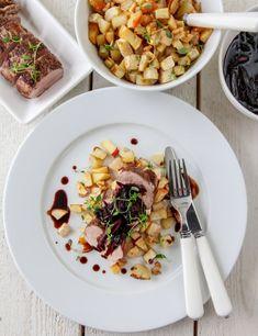 SVINEFILET MED BALSAMICOLØK | TRINES MATBLOGG Risotto, Cooking Recipes, Ethnic Recipes, Food, Chef Recipes, Essen, Meals, Yemek, Eten