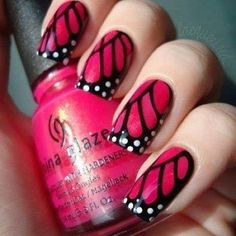 Cute nails! I'd do it in orange and black though, like a monarch butterfly