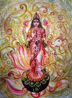 Vintage Lakshmi Darshan Original Indian Painting by sadashivarts