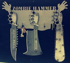 Zombie Hammer weapons rack for knives, hammers, and pic axes! https://zombiehammer.com/