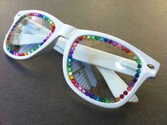 Rave light show glasses- white with rainbow rhinestones. $17.50, via Etsy.