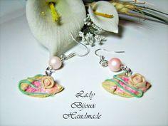 Orecchini con pendenti in miniatura crepes in fimo con perle : Orecchini di lady-bijoux-handmade