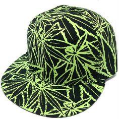 1534bfdd727 Amazon.com  Marijuana Pot Leaf Black Glow Snapback Cap  Clothing
