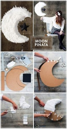 M☼☼N Pinata diy with crepe paper