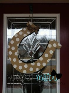 Horse Shoe  Wooden Door Hanger by PinkWhimsyCollection on Etsy