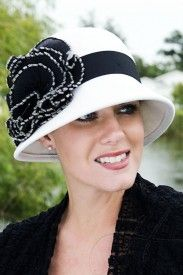 darla rose cloche hat for cancer patients with rosette trimmed in petite sparkle beads