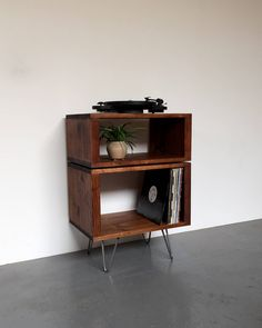 Sideboard Storage Cabinet Vinyl Record Player Solid Wood On Mid Century Hairpin Legs Stacked Stanton High Small
