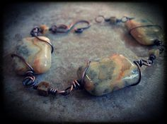 Bracelet Crazy Lace Agate Wire wrapped in Copper by skyejewels, $31.00