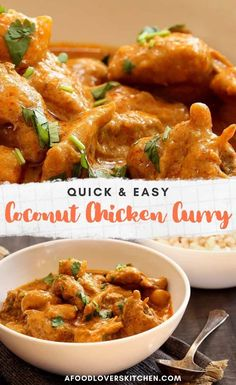 This coconut chicken curry comes together so fast, you won& believe how good it is. It has just 6 ingredients and cooks in just 20 minutes. Coconut Curry Chicken, Easy Chicken Curry, Easy Chicken Recipes, Recipe Chicken, Quick Dinner Recipes, Quick Easy Meals, Fast Easy Dinner, Quick Curry Recipe, Cooking Recipes