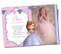 Sofia The First Birthday, Sofia The First invitation, Thank you Cards, Disney Princess, DIY, Sofia The First Cupcake Toppers (S4)