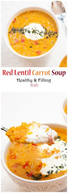 Healthy Red Lentil Carrot Soup with Ginger and Red Curry | VeganFamilyRecipes.com | #vegan #glutenfree #dinner