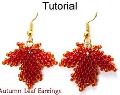 Leaf Earrings Jewelry Making Tutorial Beading Pattern Maple Leaves Diagonal Peyote Fall Autumn Seasonal Jewelry Beaded Leaves #10053