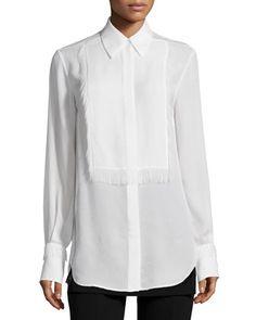 $495 Silk Tuxedo Shirt with Eyelash Fringe, White by 3.1 Phillip Lim at Neiman Marcus.