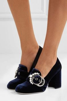 Miu Miu - Embellished Velvet Pumps - Navy