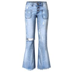 Tengo Women Ripped Wide Flared Jeans (£16) ❤ liked on Polyvore featuring jeans, wide-leg jeans, flare jeans, blue jeans, blue ripped jeans and distressed jeans