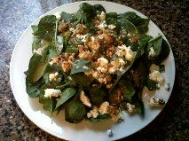 just made this amazing low carb salad, it was so yummy. Spinach, herb goat cheese, walnuts, green onions and renee's gourmet tangerine and lime salad dressing. A marketa low carb creation.