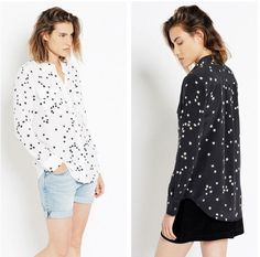 AUTH Equipment $248 Slim Signature Star Print Silk Blouse, Hot! https://qdiz.com/?p=3306