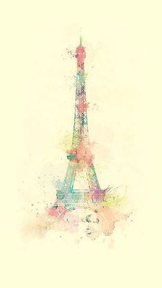Eiffel Tower Watercolor Paint iPhone 8 Wallpapers