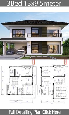House design plan 13x9.5m with 3 bedrooms - Home Ideas