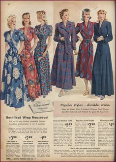 Sears catalog wrap housecoats and robes, 1942-43.  NewVintageLady: Catalog Sunday: The Final MnM lounge wear edition