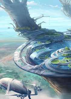 """Futuristic Architecture Discover wife i need attention too """"Boss a lady is try to get close your husband"""" """"Kill her and feed he Fantasy City, Fantasy Places, Sci Fi Fantasy, Fantasy World, Futuristic City, Futuristic Architecture, Futuristic Technology, Environment Concept Art, Environment Design"""